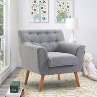 Gymax Arm Chair Tufted Back Fabric Upholstered Accent Chair Single Sofa Wood Legs Gray
