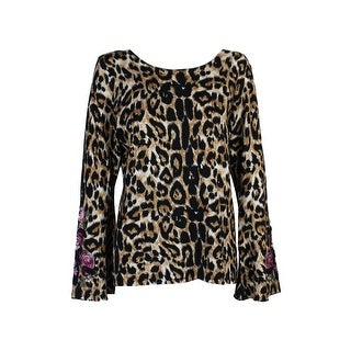 Inc International Concepts Brown Embroidered Leopard-Print Sweater XL