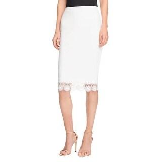 Aqua Womens Pencil Skirt Crepe Lace Trim