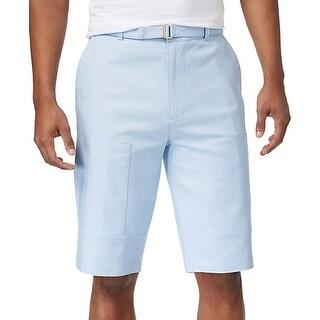 Sean John Blue Chambray Mens Size 30 Linen Flight Belted Shorts