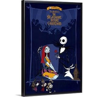 """Tim Burtons The Nightmare Before Christmas (1993)"" Black Float Frame Canvas Art"