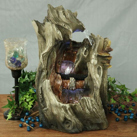 Sunnydaze Cascading Caves Waterfall Water Tabletop Fountain with LED - 14-Inch