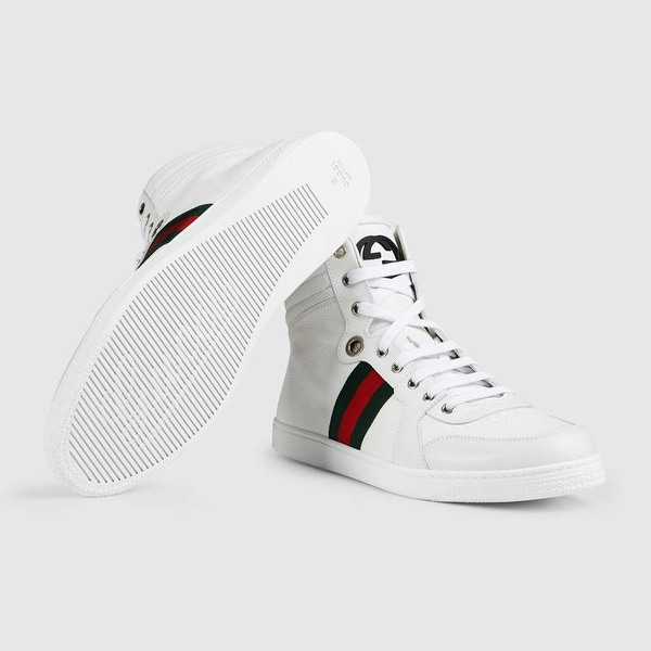 195a63f76 Shop Gucci Mens White Guccissima Leather HighTop SneakersSize U.S. 10 -  Free Shipping Today - Overstock - 14391527