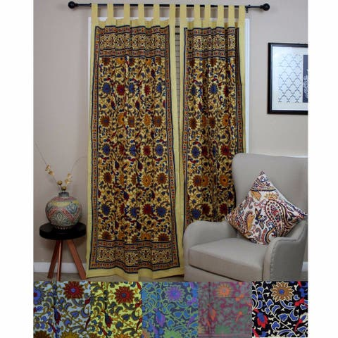 Cotton Sunflower Floral Tab Top Curtain Drape Door Panel Navy Blue Gray Yellow Black Red - 44 x 88