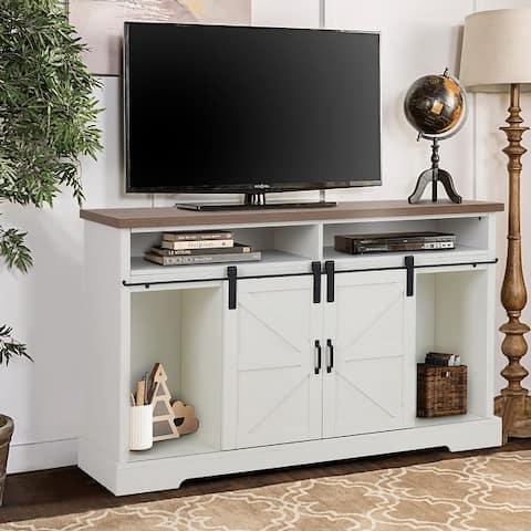 MAISON ARTS 52-Inch Farmhouse Sliding Barn Door TV Stand Sideboard Buffet Storage Cabinet