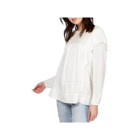 Lucky Brand Womens Blouse Embroidered Ruffled