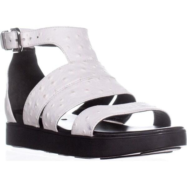 Via Spiga Cora Gladiator Buckle Sandals, White Leather - 6 us / 36 eu