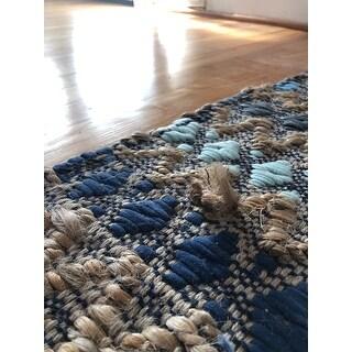 nuLOOM Blue Handmade Flatweave Natural Fiber Jute Diamond Stripes Area Rug