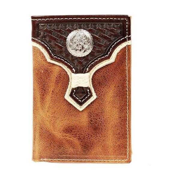 Nocona Western Wallet Mens Leather Trifold Weave Concho - One size