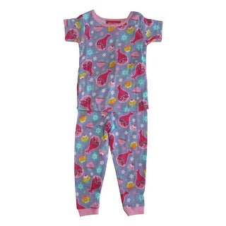 DreamWorks Trolls Little Girls Purple Print Long Sleeve 2 Pcs Pajama Set