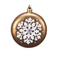 "4.5"" Mocha Brown with White Iridescent Snowflake Glass Christmas Disk Ornament"