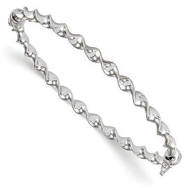 Italian 14k White Gold Twisted Bangle