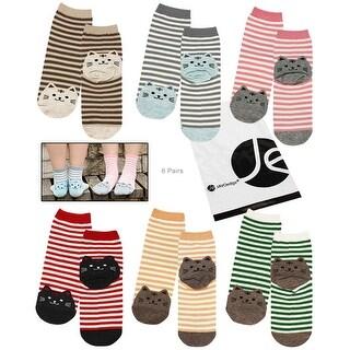 JAVOedge 6 Pack of Striped Cute Cat Heel Crew Socks - various
