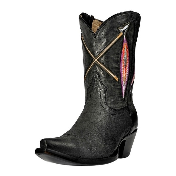 Johnny Ringo Western Boots Womens Short Fashion Feather Black
