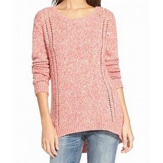 Hinge NEW Pink Open-Knit Women's Size Medium M Scoop Neck Tunic Sweater