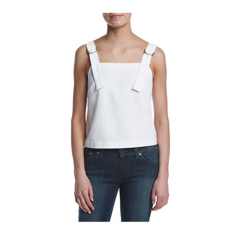 Kensie Buckled Strap Tank Top White