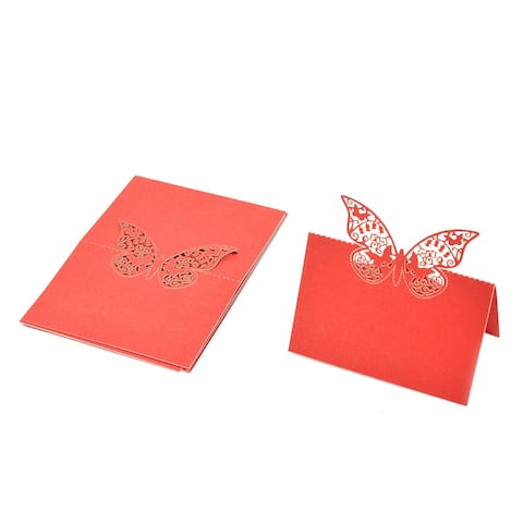 Wedding Paper Butterfly Pattern Hollow Out Table Name Place Card Red 10 Pcs