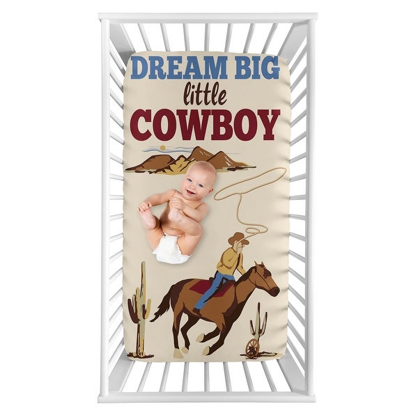 Wild West Cowboy Collection Boy Photo Op Fitted Crib Sheet - Red, Blue and Tan Western Southern Country Horse