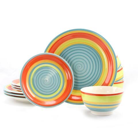Gibson Home Rainbow Stripe 12 Piece Stoneware Dinnerware Set
