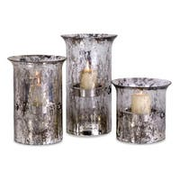 Set of 3 Silver Streaked Glass Votive Candle Holders