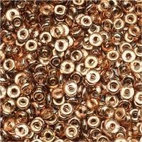 Czech Glass Flattened O Beads, 3.8x1mm, 8 Gram Tube, Capri Gold
