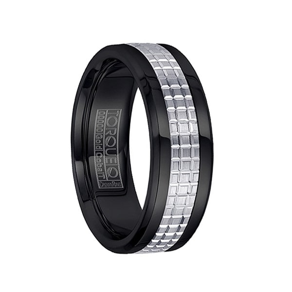 Grooved 14k White Gold Inlaid Polished Black Cobalt Men's Ring by Crown Ring - 7.5mm