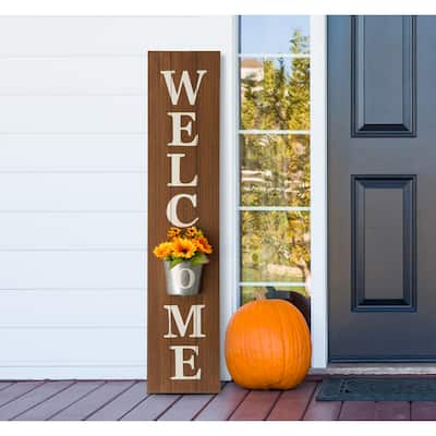 """42""""H Wooden WELCOME Porch Sign with Metal Planter by Glitzhome"""