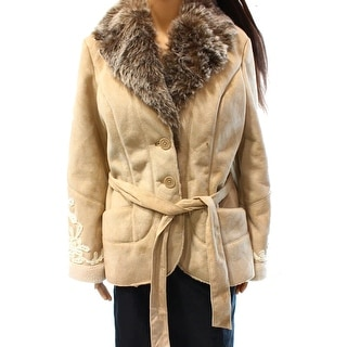 INC NEW Beige Women's Size Large L Faux Fur Embroidered Belt Coat