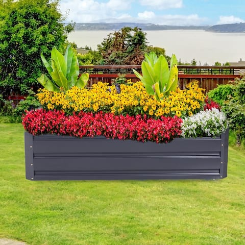 Outsunny Galvanized Raised Metal Garden Bed