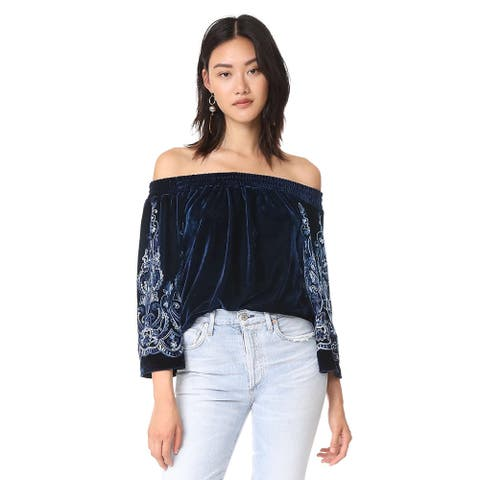 Misa Women's Embroidered Off-The-Shoulder Strapless Top, Blue, S