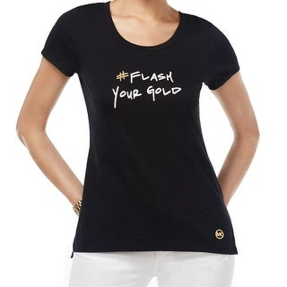 Michael Kors NEW Black Women's Size Large L Flash Your Gold Tee T-Shirt