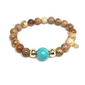 Tan Picture Jasper 'Pride' stretch bracelet 14k Over Sterling Silver