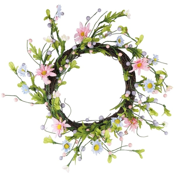 "12"" Green, Pink and Purple Decorative Artificial Spring Floral Twig Wreath - Unlit"