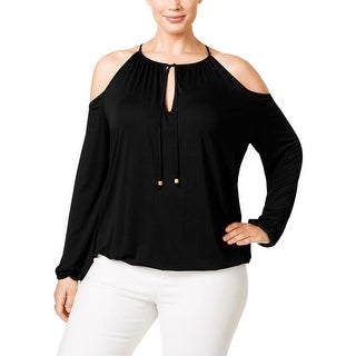 MICHAEL Michael Kors Womens Plus Casual Top Cold-Shoulder Ruched