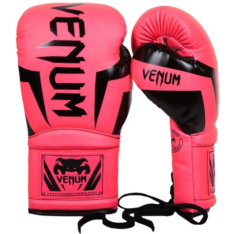 Venum Elite Long Cuff Attached Thumb Lace Up Boxing Gloves - Neo Pink