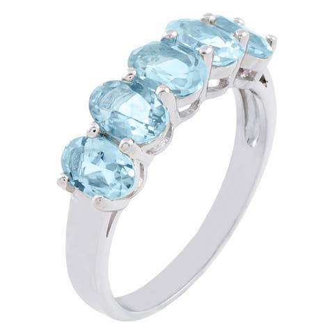 5-Stone 2.45 cttw Oval-Cut Aquamarine Ring, Sterling Silver