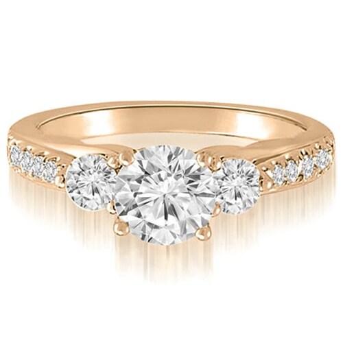 1.22 cttw. 14K Rose Gold Three-Stone Round Cut Diamond Engagement Ring