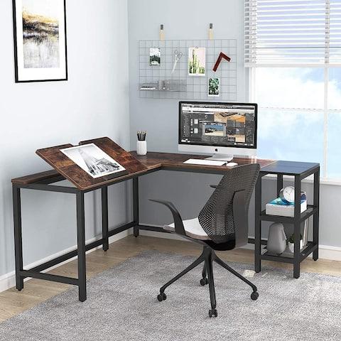 L Shaped Desk with Storage Shelves59 inch Large Corner Computer Office Desk