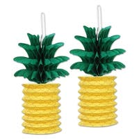 Club Pack 12 Yellow and Green Tropical Themed Pineapple Paper Lantern Hanging Party Decorations 10""