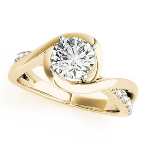 Auriya 14k Gold 1/2ctw Bypass Moissanite and Diamond Engagement Ring 1/8ctw