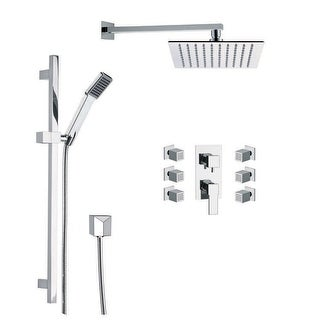 Nameeks S9  Remer 2.5 GPM Square Single Function Rain Shower Head with Hand Shower and Slidebar - Chrome