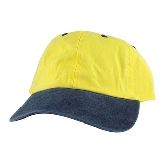 CapRobot Washed Unstructured Low Profile Strapback Hat Dad Cap - Gold Navy Blue