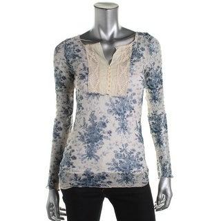 Denim & Supply Ralph Lauren Womens Floral Print Henley Pullover Top - L