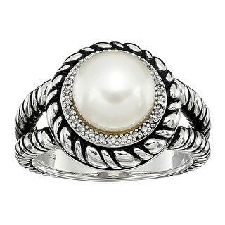 Honora 9-9.5 mm Freshwater Cultured Button Pearl Ring with Diamonds in Silver