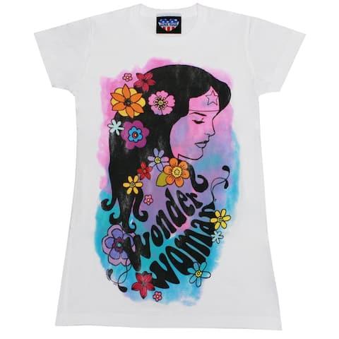 Wonder Woman Watercolor Floral Juniors T-Shirt