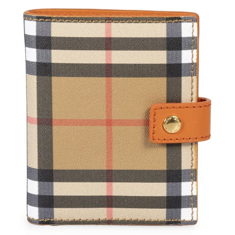 Burberry Small Vintage Check and Orange Leather Folding Wallet - 4.3 W x 3.5 H x 1 D Inches