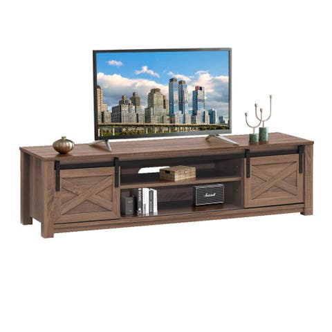 Gymax Sliding Barn Door TV Stand for TV's up to 65'' Storage Shelf
