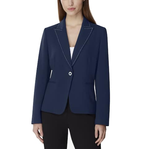 Tahari by ASL Women's Blazer Navy Blue Size 16 Single Button Stich