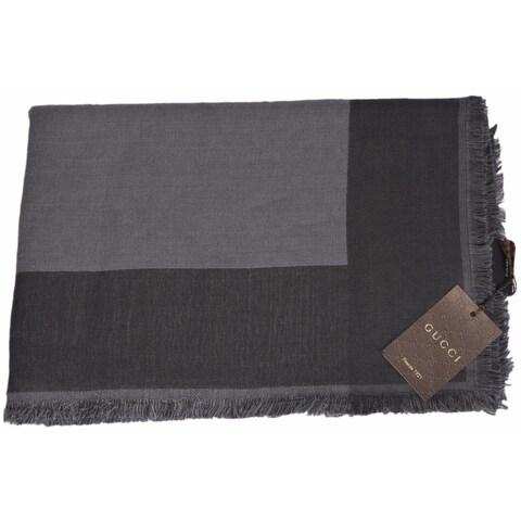 "Gucci Unisex 371461 Grey Wool Silk Modal Colorblock Scarf 55 x 55 - 55"" x 55"""