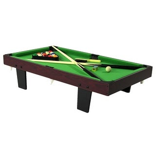 Sunnydaze 36 Inch Mini Tabletop Pool Table with Triangle Balls Cues Chalk
